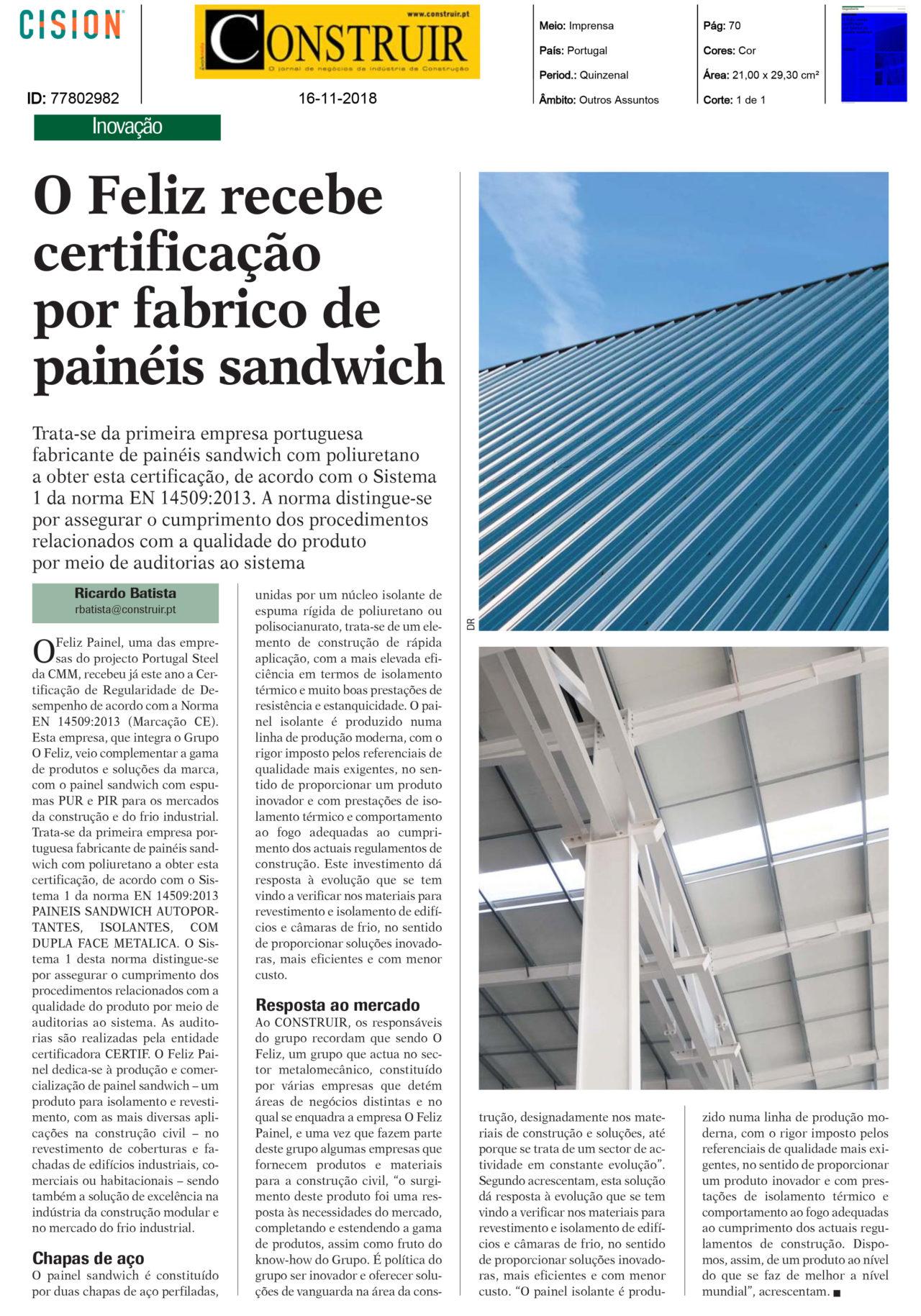 O FELIZ Painel pioneira em Portugal com Marcação CE